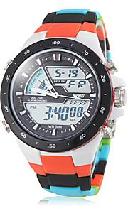 Masculino Relógio Esportivo Quartzo Japonês LCD / Calendário / Cronógrafo / Impermeável / Dois Fusos Horários / alarme Plastic BandaCores