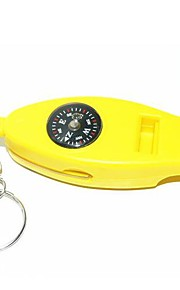 4-in-1  Multifunction Survival Whistle with Compass + Thermometer + Folding Magnifier + Keyring - Yellow