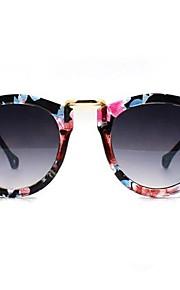Kvinder Vintage Cat Eye Super Round Floral Ramme metalcirklen solbriller
