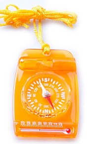 3119 Mini Multi 3-in-1 Transparent Compass/Thermonmeter/Whistle-Orange