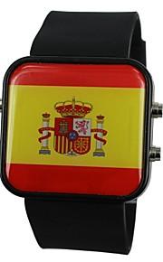 Relógio de Pulso Unissex LED Com a Bandeira da Espanha