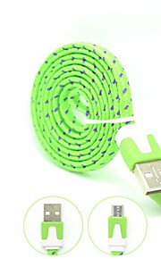 Colorful Nylon Woven Appartamento Micro USB 100 centimetri High Speed ​​qualità cavo di ricarica per Samsung Galaxy S3/S4