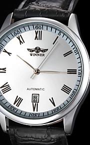 auto-mecânico com ligação simples de couro preto faixa de relógio de pulso dos homens