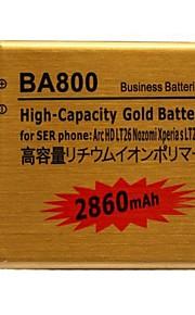 batería de gran capacidad del oro del polímero del li-ion 2860mah BA800 para sony ericsson arc hd LT26 Nozomi LT26i del xperia etc