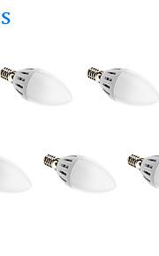 5W E14 LED-lysestakepærer 15 SMD 2835 450 lm Varm hvit AC 85-265 V 5 stk.