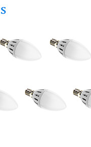 C37 E14 5 לארוז 5W 15x2835smd 450lm הנורה נר הוביל 3000K אור לבן חם (85-265V)
