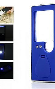 portátil 3 LED branco e um azul levou lupa 6x luz com uma caneta esferográfica (3 * LR1130)