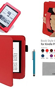 COCO FUN® PU Protective Case with Hand Strap, Screen Protector and Stylus for All Amazon Kindle Paperwhite