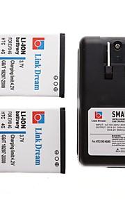 ligação sonho 2 x telefone celular bateria + carregador para HTC EVO 4G (2950 mAh)