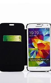 4200mAh batteria di backup copertura di vibrazione del cuoio per Samsung galassia slot s5 / scheda&basamento (nero)