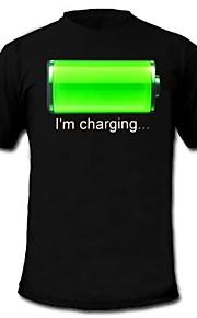 herre lyser førte t-shirt batteriopladning mønster fast tilstand blinker el nylon til fest bar raver