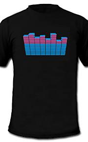 LED-T-shirts Lydaktiverede LED-lys Tekstil XS S M L XL XXL Stilfuld Sort 2 AAA Batterier