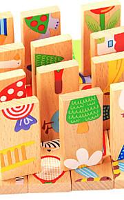 28pcs træ dyr domino blokke mursten tidlige klassiske pædagogisk legetøj (tilfældig farve)
