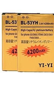 2pcs yi-yi reemplazo ™ decodificado 4200mah batería li-ion de alta capacidad para lg g3 / bl-53yh / d855 / vs985 / d830 / D851