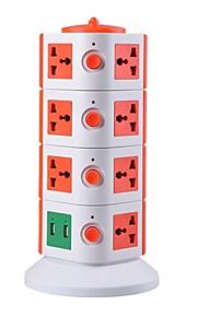 overbelastingsbeschermer 5v / 2.1a 4 verdieping met 15 universele stekkers en 2 usb eu adapter stekkerdozen