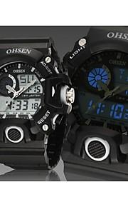 Masculino Relógio Esportivo Quartz LED / Calendário / Cronógrafo / Impermeável Silicone Banda Preta marca- OHSEN