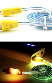 Smiling Flowing Current Charger Micro USB Cable with LED for Samsung and Other Phone (Assorted Colors)