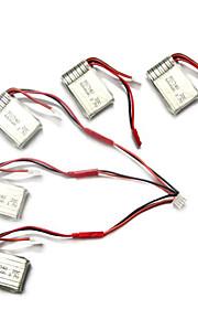 SYMA x5c / x5c-1 opdagelsesrejsende dele x5c-11 3.7v 500mAh opdatering 3.7v 680mah lipo batteri m / jst 3 i 1 kabel linje x 5pcs