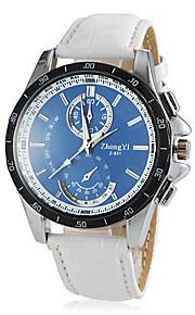 Männerrunde blaues Zifferblatt PU-Leder-Band-Quarz-Armbanduhr