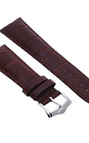 24 milímetros unisex pulseira pulseira genuína banda de relógio de couro marrom escuro forma