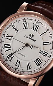 automático relógio pulseira de couro clássico relógio mecânico dos homens forsining® (cores sortidas)