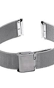 18 milímetros durável relógio de aço implantação cinta banda fivela de prata