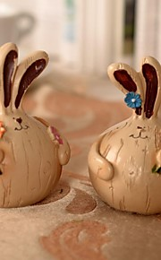 2 pcs alho gordura coelhos pintura resina artigos de decoração