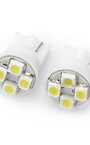 T10 4-SMD LED 1W 10LM 7000K White Light Lamps for Car (DC 12V / Pair)