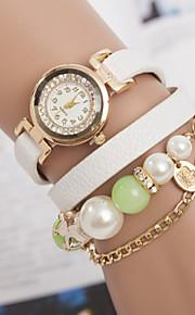 Women's Fashion Pearl Chain Retro Winding Belt Bracelet Watch  (Assorted Colors)