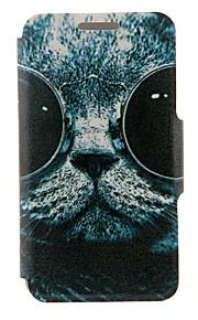 kinston® motif de chat lunettes de soleil cuir PU couverture complète du corps avec support pour HTC Desire yeux / M910
