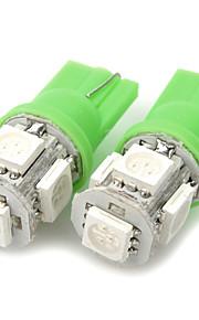 T10 1W 20~30LM 6000K 5-SMD LED Green Light Bulbs for Car (12V / Pair)