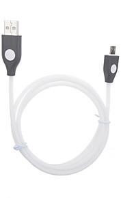 삼성 / HTC 등의 스마트 폰을위한 마이크로 USB 충전 및 데이터 형광 케이블 1m의 USB