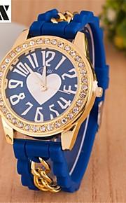 coração forma diamante cadeia de quartzo pulseira de relógio analógico das mulheres (cores sortidas)