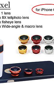 apexel 4 i 1 skit 8x vit teleskop lins + fisheye-objektiv + vidvinkel + makrokameralinsen med fallet för iphone 6 plus
