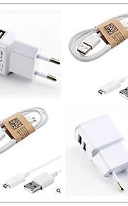 Dual USB caricatore spina CA eu con 100 centimetri cavo micro USB per Samsung S6 / S4 / S3 / s2 sony / lg e altri