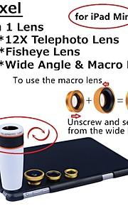 apexel 4 i 1 objektiv kit 12x vit teleskop lins + fisheye-objektiv + vidvinkel + makrokameralinsen med fallet för iPad Mini 2/3