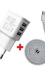 cwxuan ™ 3a 5v 3 porte usb eu spina caricabatteria con cavo dati micro usb 2m per Samsung S3 / 4/5/6 / htc e altri