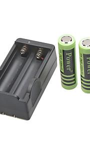 stroom batterijlader voor 18650 oplaadbare Li-ion batterij (inbegrepen 2x5200mah 4.2V)