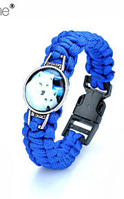 Lureme®  Europestyle Brief Blue Weave Parachute Cord  Two White Wolf Time Gem  Alloy Bracelet