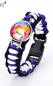 Lureme®Europestyle Brief Black Intertwine  Purple White Weave Parachute Cord Dream Starry Sky Time Gem Alloy Bracelet