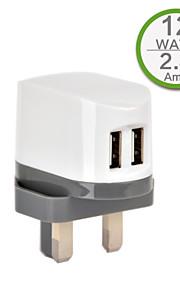 CE 인증 듀얼 USB 벽 충전기, 아이폰 5 아이폰 6 / 플러스, 아이 패드 에어, 아이 패드 미니, ipad4에 대한 영국 플러그, 5V 2.4A의 출력,