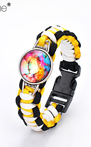 Lureme®Europestyle Brief Black Intertwine  Yellow White Weave Parachute Cord Dream Starry Sky Time Gem Alloy Bracelet