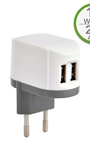 CE-certifierad dubbla USB väggladdare, europa plugg, 5v 2..4a utgång, för iphone 5 iphone 6 / plus, ipad luft, iPad mini, ipad4