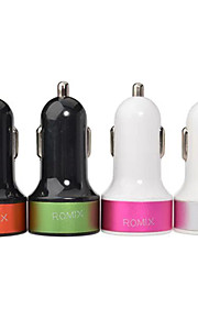 Universal Dual Port USB Car Charger Adapter for iPhone/Samsung and Other Cellphone(5V,2A)(Assorted Color)