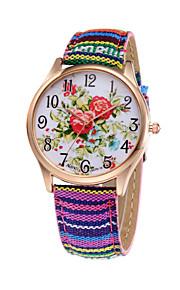 kvinde eksotisk farverige stof band røde lotus kvarts armbånd armbåndsur afslappet unikke diamant ur