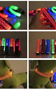 Vandtæt/LED Lys/Leopard - Nylon - Krave - Rød/Sort/Grøn/Blå/Pink/Gul/Lilla/Orange