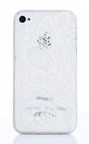 White Printing Pattern TPU Material Phone Case for iPhone 4/4S