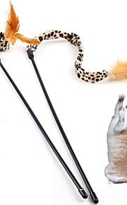 Brinquedo Para Gato Brinquedos para Animais Brinquedo de Provocação Brinquedo com Penas Leopardo Marrom Téxtil