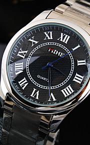 negócios de luxo dos homens rodada roma número de discagem cinta de aço inoxidável de vida moda relógio de quartzo impermeável