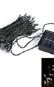 10m 50-ledede 8-mode varm hvit innendørs utendørs bryllup julebord solar string lys (eu plugg)